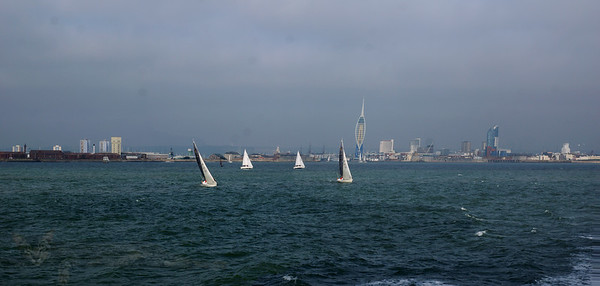 Yachts on the Solent between Portsmouth and the Isle of Wight