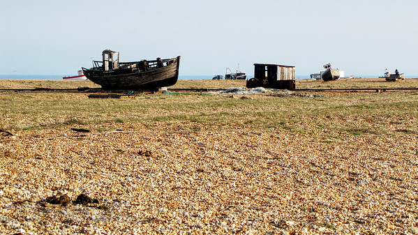 Dungeness Beach in Kent with fishing boats