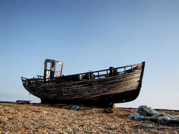 Dungeness Beach in Kent with fishing boat