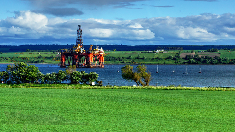 Oil Rig viewed fron The Far North Railway Line