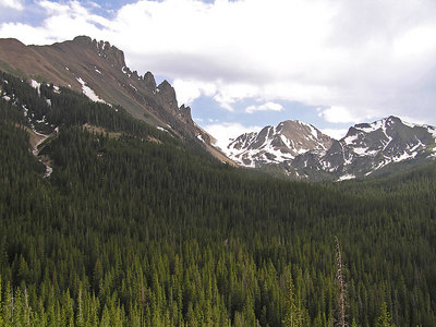 The Crags, viewed just west of Cameron Pass, CO.
