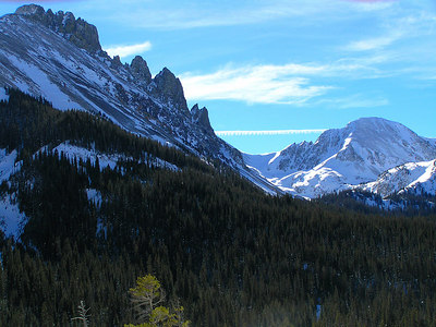 Closeup view of The Crags, west of Cameron Pass, CO, this time with some snow.