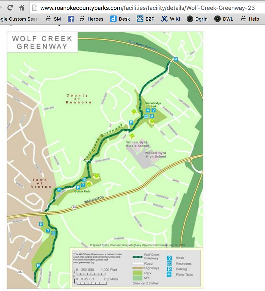 Modern Map of the Wolf Creek Greenway