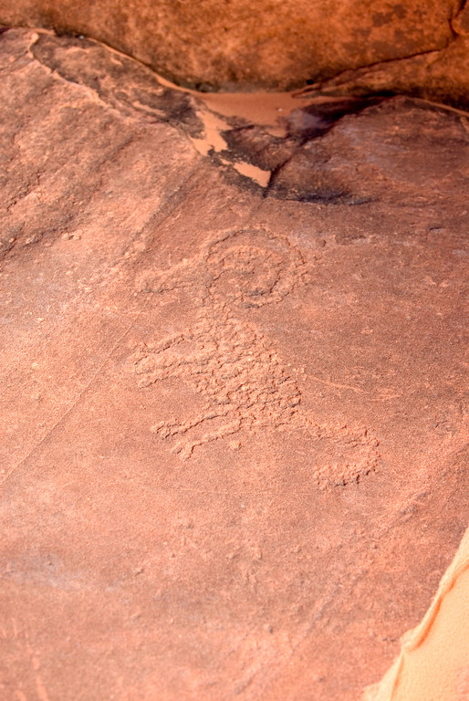 Valley of Fire  Petroglyphs<br /> <br /> This depiction of a ram was carved on a rock located at the entrance of Petroglyph Canyon or Mouse's Tank.  It is actually carved on a horizontal rock face unlike most of the others.