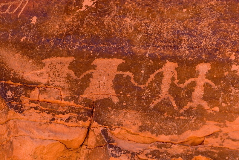 Valley of Fire  Petroglyphs - One description of this carving that I have seen indicates that it may be 2 men and 2 women dancing.