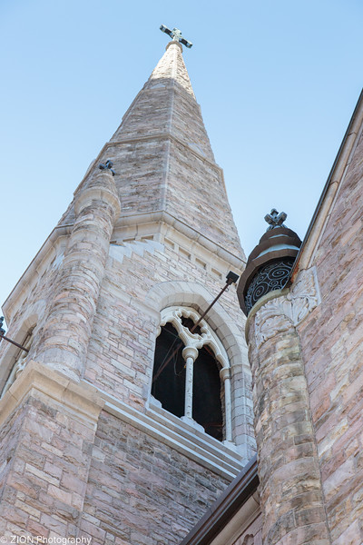 A look up at the cross on top of Trinity United Methodist Church in Denver, Colorado