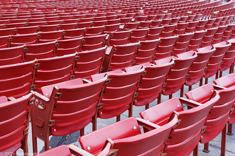 Red stadium seating at a Pavillion in Chicago