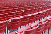 The red stadium seating at the Jay Pritzker Pavillion