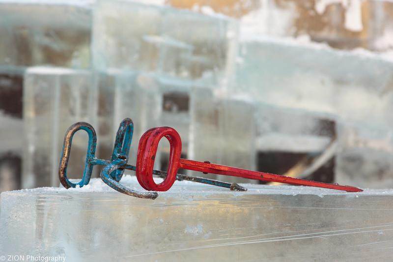 Ice spikes on a block of ice.