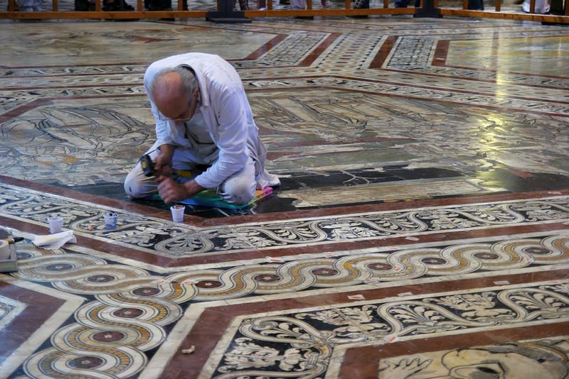 Floor restoration, Duomo, Siena