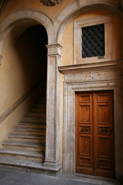 Door and stairs, Siena