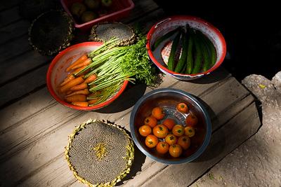 Street food in Suhe, we met several old ladies just presenting a few nicely colored veggies like this in on a street corner