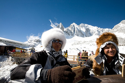 Two guys up at the mountain station selling postcards (!?) stamped with a 5500m, something, stamp