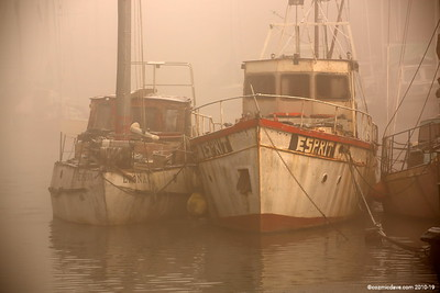 Boats in the mist at Lydney Harbour