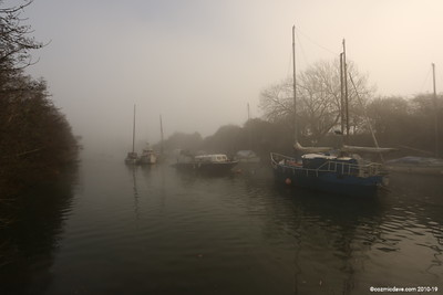 Boats in mist at Lydney Harbour