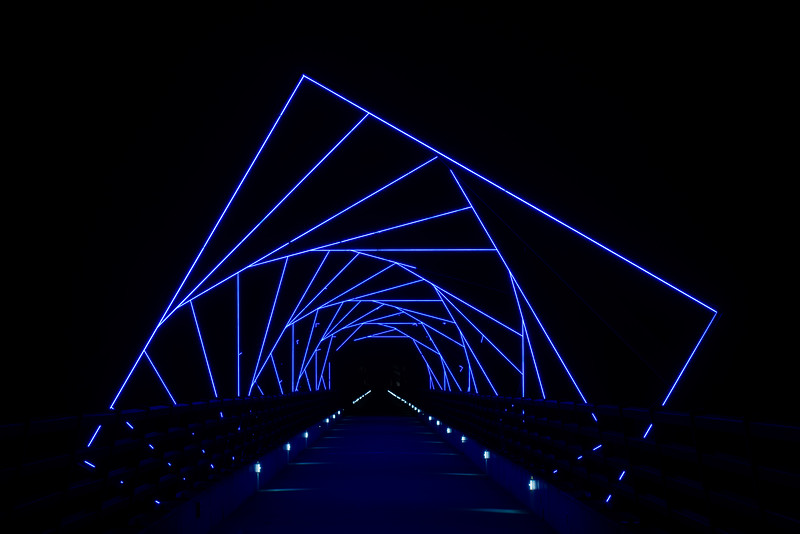 Blue Lights of the High Trestle Bidge, Madrid IA (21 October 2014)