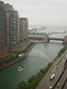 Evening/overcast view of the Chicago River (& the water canon) and Lake Michigan from my room at Columbus Plaza Apts.