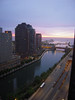 Sunrise view of the Chicago River and Lake Michigan from my room at Columbus Plaza Apts.