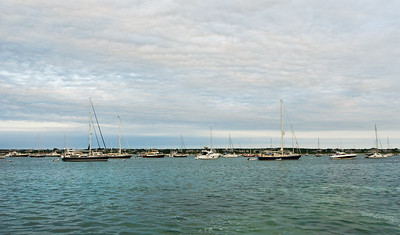 Boats, ocean and sky