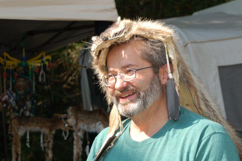 Rick modeling a raccoon skin hat.