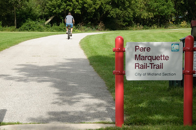 The Pere Marquette Rail-Trail seemed to stretch the length of the town and the river. Wish I had my bicycle.