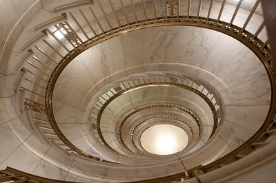 One of two self-supporting staircases in the US Supreme Court building. They are not used but they show them to you as part of the tour.