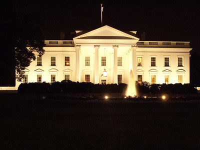 Just after I took this photo of the White House at night, the lights went out. We all thought it was because it was after 11:00 p.m. Turns out the lights went out that evening all around the mall. Figures.