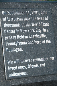 Sign at Pentagon Memorial. 184 people lost their lives when Flight 77 crashed onto the side of the Pentagon.