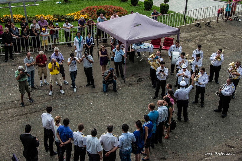 I think the Mayor of Batumi must have been making a presentation to our ship's captain. TV cameras present and a brass band. I have a separate video of the brass band. Worth watching for a couple of minutes.
