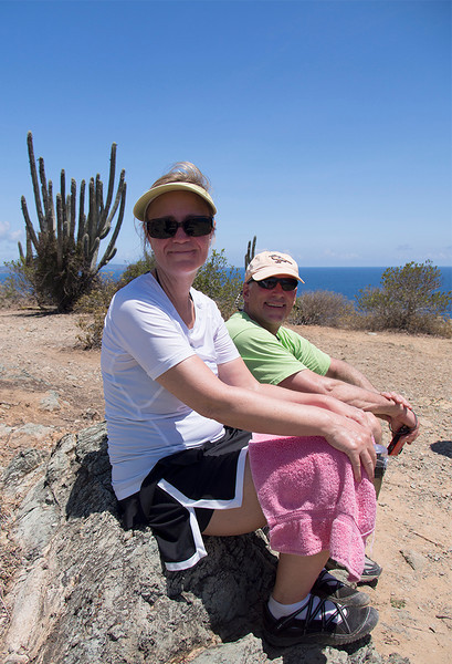 Krisa, Eric and a cactus supplying Eric's bunny ears<br /> atop Ram Head Point<br /> <br /> St. John, USVI<br /> March 2013