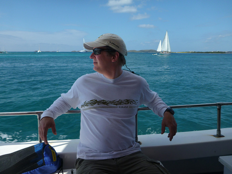 John on his birthday boat ride<br /> On the way to Jost Van Dyke, BVI<br /> <br /> March 2013