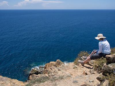 next coastline:  Africa Elaine takes it all in atop Ram Head Point  St. John, USVI March 2013