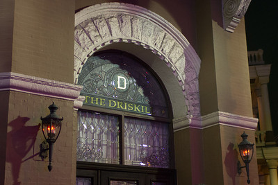 A door into the Driskill Hotel.