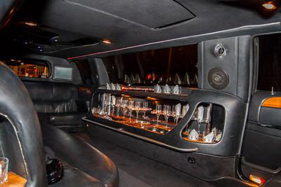 8 passenger limo interior.