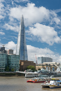 20140831. View across the RIver Thames at The Shard which is the tallest building in the United Kingdom.