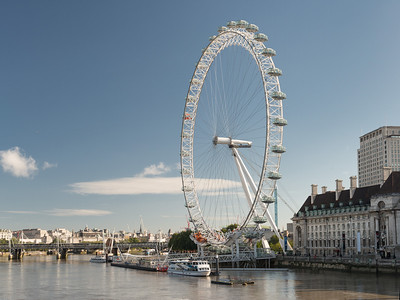 20140831. Northern view from Westminster Bridge of River Thames and London Eye.