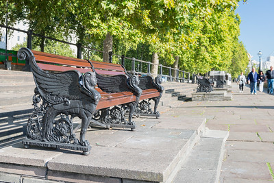 20140831. Sphinx bench on Victoria Embankment along River Thames.