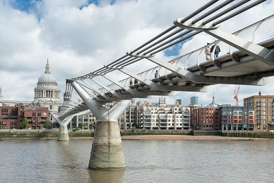 20140831. Millenium Bridge and view across River Thames to Saint Paul's Cathedral, London.