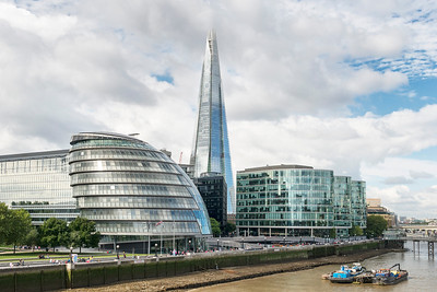 20140831. View of The Shard (tallest building in the United Kingdom) from Tower Bridge, London.  In the foreground is the City Hall building.