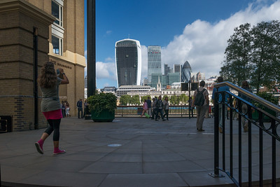 20140831. View across River Thames from shopping are in Southbank, London.  Tallest building in view is the under construction 20 Fenchurch Street building.  Just to the right is the Leadenhall Building (Cheese Grater).  In the center right is the 30 St Mary Axe building (The Gherkin).