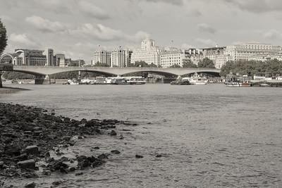 20140831. View towards Waterloo Bridge along River Thames from Southbank, London.