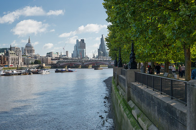 20140831. View along River Thames from Southbank, London.  Saint Paul's Cathedral on left side.