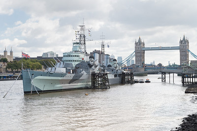 20140831. View along River Thames from Southbank, London.  HMS Belfast in foreground and Tower Bridge in background.