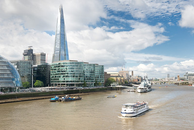 20140831. View of The Shard (tallest building in the United Kingdom) across River Thames and from Tower Bridge, London.