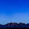 Blue hour mountain panorama