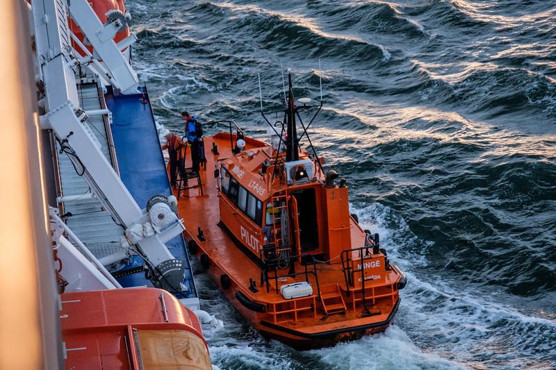 Pilot boarding our ship in choppy Baltic Sea