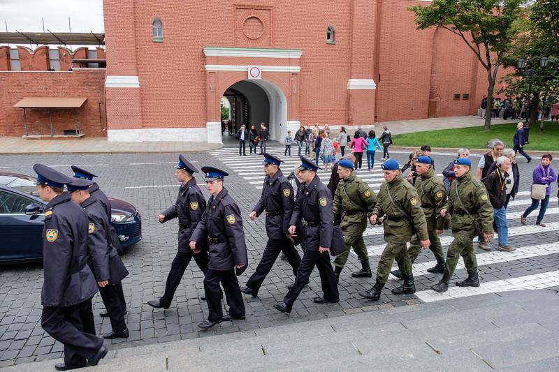 Guard shift change in the Kremlin Grounds