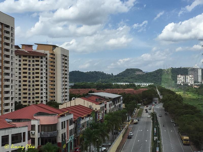 Rymba Hill at the end of this road and Bukit Lanjan.