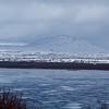 Þingvallavatn largest lake on island   Large waterfalls in distance
