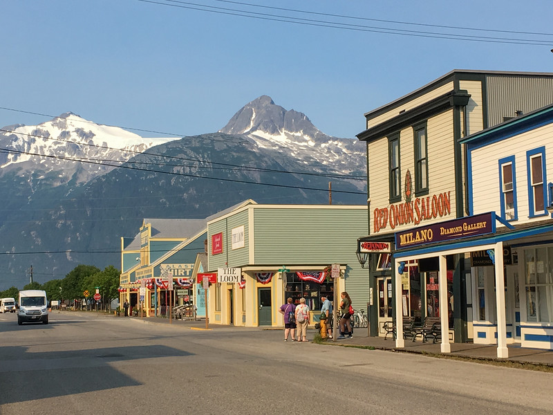 Skagway at foot of mountains